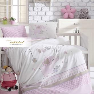 Детское постельное белье в кроватку для новорожденных Istanbul Home Collection HAPPY (розовый)
