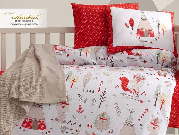 Детское постельное белье в кроватку для новорожденных Istanbul Home Collection JUNGLE (красный), фото, фотография