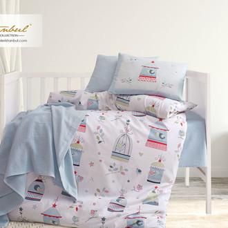 Детское постельное белье в кроватку для новорожденных с пледом-пике Istanbul Home Collection BIRD HOUSE (синий)