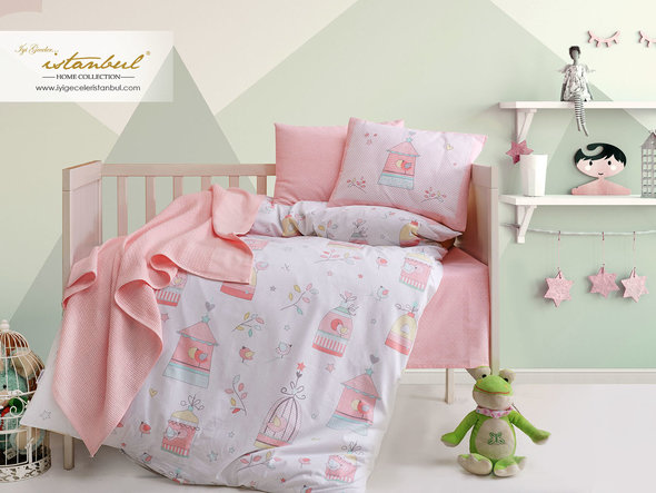 Детское постельное белье в кроватку для новорожденных с пледом-пике Istanbul Home Collection BIRD HOUSE лососевый, фото, фотография