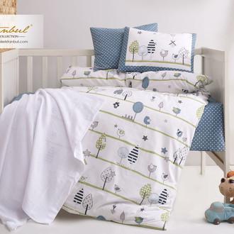 Детское постельное белье в кроватку для новорожденных с пледом-пике Istanbul Home Collection BIRDLY (серый)