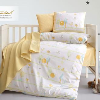 Детское постельное белье в кроватку для новорожденных с пледом-пике Istanbul Home Collection BIRDLY (жёлтый)