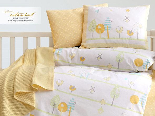Детское постельное белье в кроватку для новорожденных с пледом-пике Istanbul Home Collection BIRDLY жёлтый, фото, фотография
