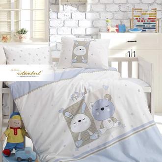 Детское постельное белье в кроватку для новорожденных с пледом-пике Istanbul Home Collection FRIENDS (синий)