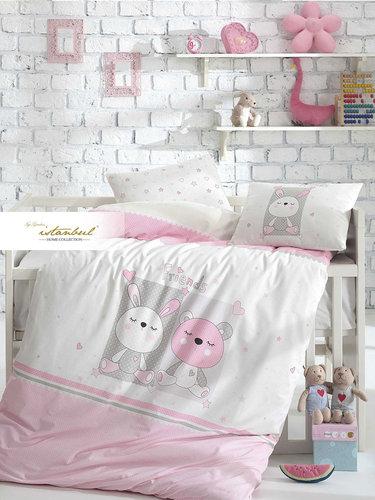 Постельное белье для новорожденных с пледом-пике Istanbul Home Collection FRIENDS розовый, фото, фотография