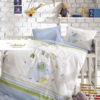 Детское постельное белье в кроватку для новорожденных с пледом-пике Istanbul Home Collection HAPPY (синий)