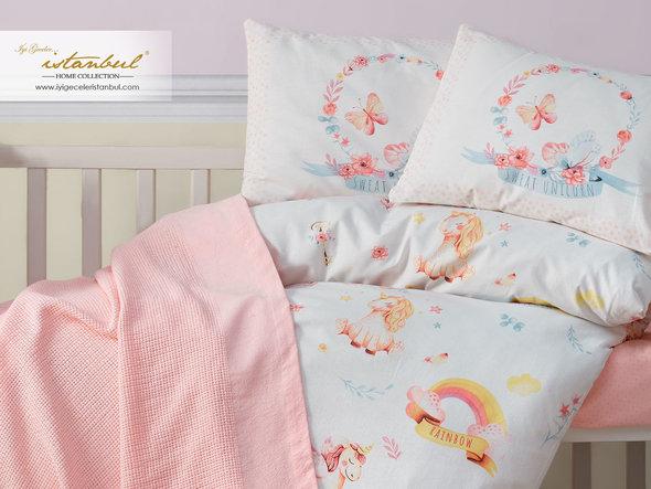 Детское постельное белье в кроватку для новорожденных с пледом-пике Istanbul Home Collection UNICORN, фото, фотография