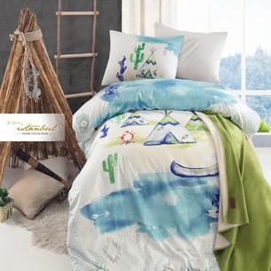 Детское постельное белье с пледом Istanbul Home Collection GENC RANFORCE SCOUT хлопковый ранфорс 1,5 спальный