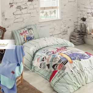 Детское постельное белье с пледом Istanbul Home Collection GENC RANFORCE SURFER хлопковый ранфорс 1,5 спальный
