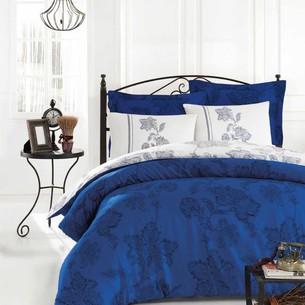 Постельное белье Istanbul Home Collection BIANCO хлопковый сатин синий евро