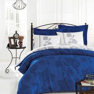 Постельное белье Istanbul Home Collection BIANCO хлопковый сатин синий