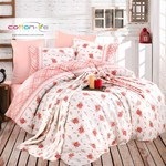 Постельное белье Istanbul Home Collection COTTON LIFE LAVANTA ранфорс лососевый евро, фото, фотография