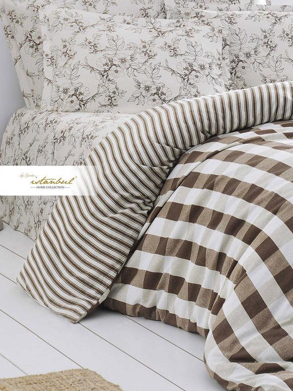 Постельное белье Istanbul Home Collection FLANEL VERONA хлопковая фланель евро коричневый, фото, фотография