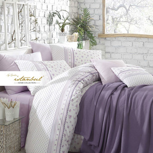 Постельное белье с покрывалом-пике Istanbul Home Collection FLORIDA хлопковый ранфорс лиловый евро
