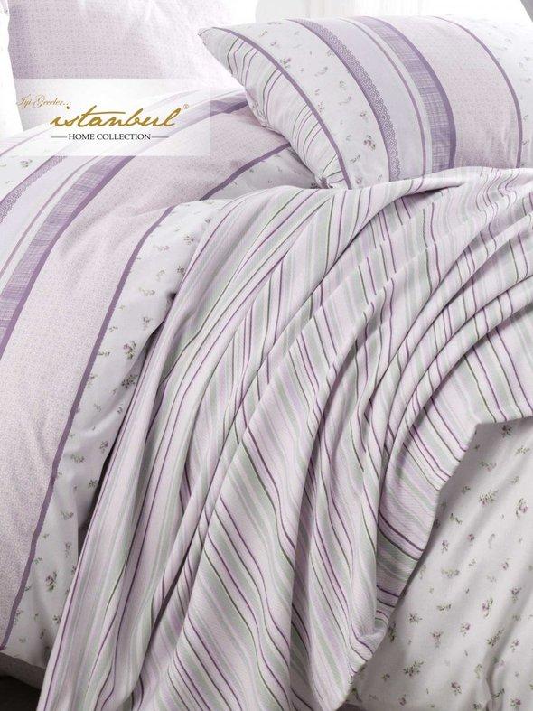 Постельное белье с покрывалом-пике Istanbul Home Collection GLORIA хлопковый ранфорс лиловый евро, фото, фотография