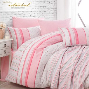 Постельное белье с покрывалом-пике Istanbul Home Collection GLORIA хлопковый ранфорс розовый евро