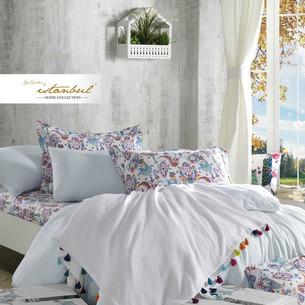 Постельное белье с покрывалом-пике Istanbul Home Collection UP STYLE хлопковый ранфорс белый евро