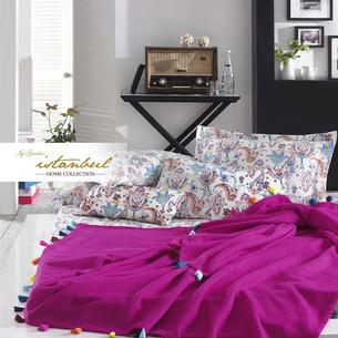 Постельное белье с покрывалом-пике Istanbul Home Collection UP STYLE хлопковый ранфорс фуксия евро