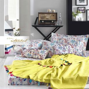 Постельное белье с покрывалом-пике Istanbul Home Collection UP STYLE хлопковый ранфорс жёлтый евро