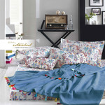 Постельное белье с покрывалом-пике Istanbul Home Collection UP STYLE хлопковый ранфорс синий евро, фото, фотография