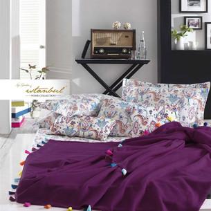 Постельное белье с покрывалом-пике Istanbul Home Collection UP STYLE хлопковый ранфорс сливовый евро