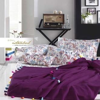 Постельное белье с покрывалом-пике Istanbul Home Collection UP STYLE хлопковый ранфорс сливовый
