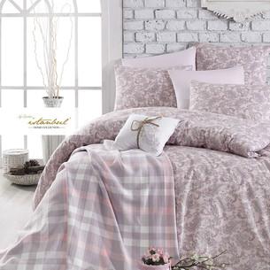Постельное белье с пледом Istanbul Home Collection SQUART хлопковый ранфорс розовый евро