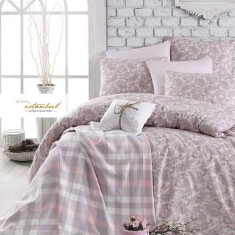Постельное белье с пледом Istanbul Home Collection SQUART хлопковый ранфорс розовый