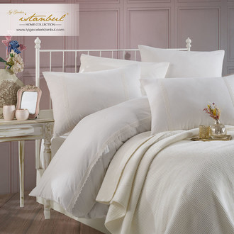 Постельное белье с покрывалом Istanbul Home Collection ROSALINE хлопковый ранфорс кремовый