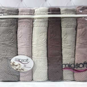 Набор полотенец для ванной 6 шт. Pupilla MIASOFT LARIN хлопковая махра 70х140