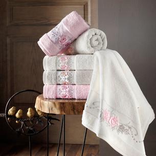 Полотенце для ванной в подарочной упаковке Pupilla EVA хлопковая махра розовый 50х90