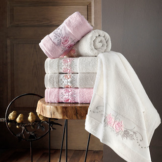 Полотенце для ванной в подарочной упаковке Pupilla EVA хлопковая махра белый
