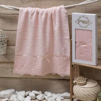 Полотенце для ванной в подарочной упаковке Pupilla INCI бамбуковая махра розовый