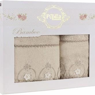 Набор полотенец для ванной в подарочной упаковке 2 пр. Pupilla ALVIN бамбуковая махра бежевый