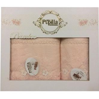 Набор полотенец для ванной в подарочной упаковке 2 пр. Pupilla ALVIN бамбуковая махра персиковый