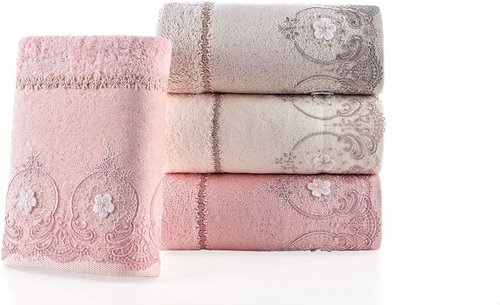 Набор полотенец для ванной в подарочной упаковке 2 пр. Pupilla ALVIN бамбуковая махра сухая роза, фото, фотография