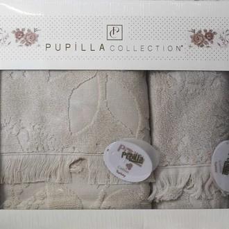 Набор полотенец для ванной в подарочной упаковке 2 пр. Pupilla AMAZON хлопковая махра кофейный