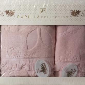 Набор полотенец для ванной в подарочной упаковке 2 пр. Pupilla AMAZON хлопковая махра розовый