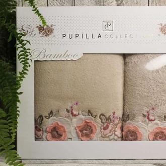 Набор полотенец для ванной в подарочной упаковке 2 пр. Pupilla ANEMON бамбуковая махра кофейный