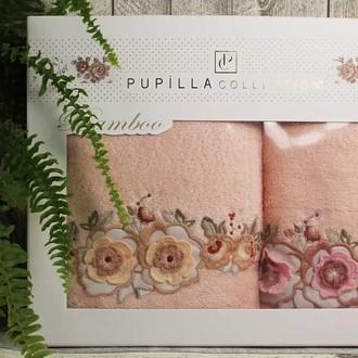 Набор полотенец для ванной в подарочной упаковке 2 пр. Pupilla ANEMON бамбуковая махра розовый