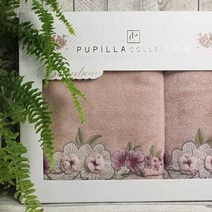 Набор полотенец для ванной в подарочной упаковке 2 пр. Pupilla ANEMON бамбуковая махра сиреневый