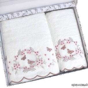 Набор полотенец для ванной в подарочной упаковке 2 пр. Pupilla ARMONI бамбуковая махра белый