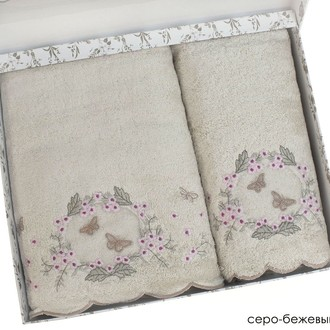 Набор полотенец для ванной в подарочной упаковке 2 пр. Pupilla ARMONI бамбуковая махра кофейный