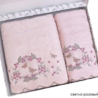 Набор полотенец для ванной в подарочной упаковке 2 пр. Pupilla ARMONI бамбуковая махра розовый