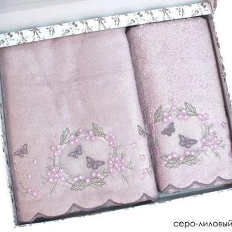 Набор полотенец для ванной в подарочной упаковке 2 пр. Pupilla ARMONI бамбуковая махра сиреневый