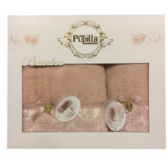Набор полотенец для ванной в подарочной упаковке 2 пр. Pupilla CLARA бамбуковая махра кофейный