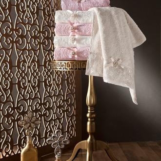 Набор полотенец для ванной в подарочной упаковке 2 пр. Pupilla CLARA бамбуковая махра сиреневый