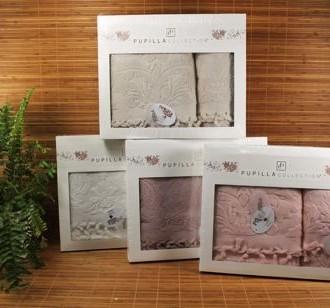 Набор полотенец для ванной в подарочной упаковке 2 пр. Pupilla ELIZ хлопковая махра серый