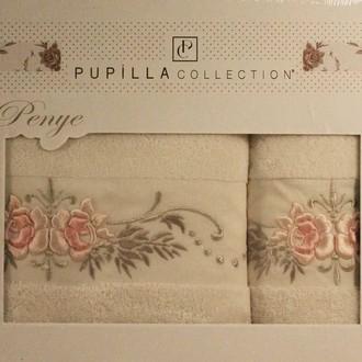 Набор полотенец для ванной в подарочной упаковке 2 пр. Pupilla EVA хлопковая махра белый