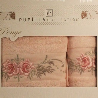 Набор полотенец для ванной в подарочной упаковке 2 пр. Pupilla EVA хлопковая махра розовый
